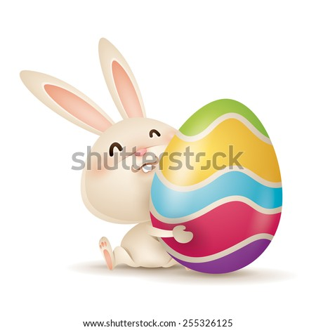 Easter bunny and egg - stock vector