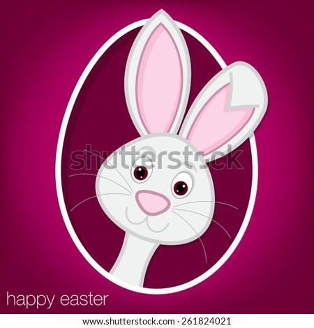 Easter bunny and egg card in vector format. - stock vector
