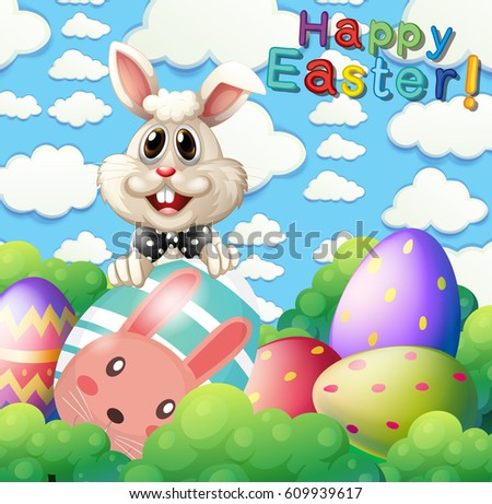 Easter Bunny And Eggs In Garden Illustration