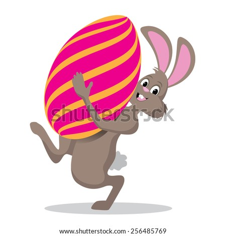 Easter bunny carrying giant egg EPS 10 vector royalty free stock illustration for greeting card, ad, promotion, poster, flier, blog, article, social media - stock vector