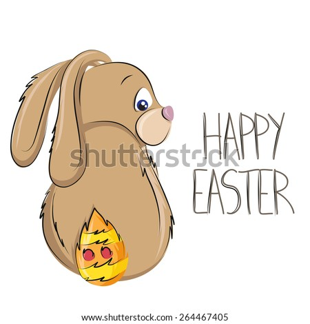 Easter bunny cartoon with painted tail - stock vector