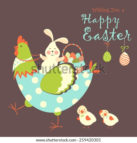 Easter bunny,chicken and easter eggs. Vector illustration - stock vector