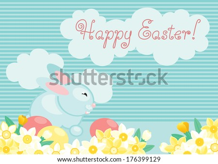 Easter bunny. Cute easter bunny  and eggs on  green grass with many spring flowers..