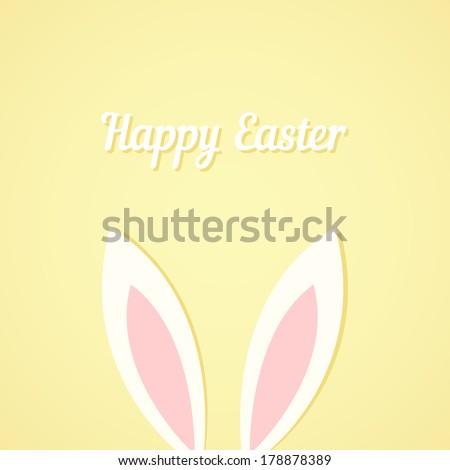 Easter bunny ears card - stock vector