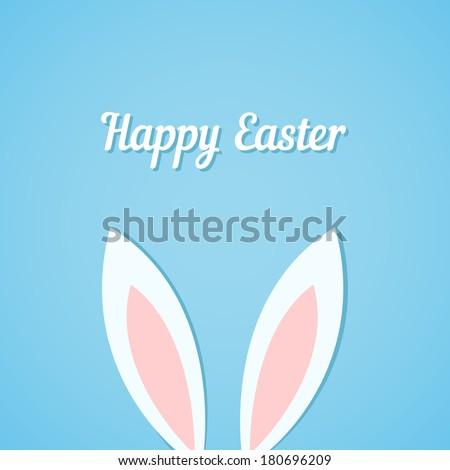 Easter bunny ears card, blue background - stock vector