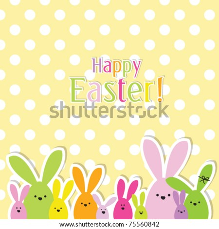 easter bunny. easter card with copy space - stock vector