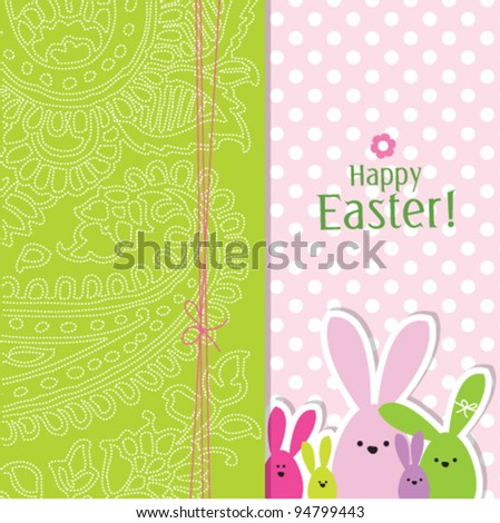 easter bunny eggs - easter background card - stock vector