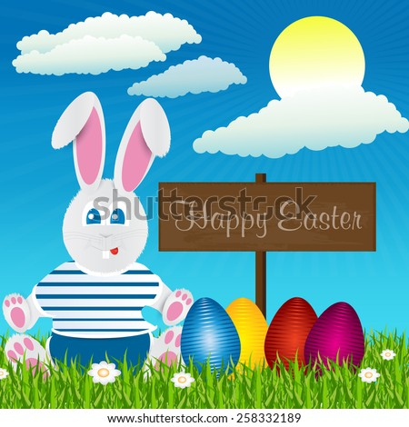 Easter bunny. Happy Easter. Easter eggs. - stock vector