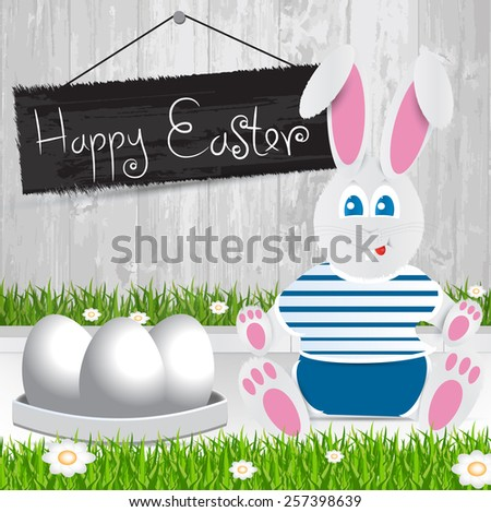 Easter bunny. Happy Easter . White Easter eggs.The grass with a wooden fence and flowers. - stock vector