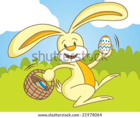 Easter Bunny Hiding Eggs - stock vector