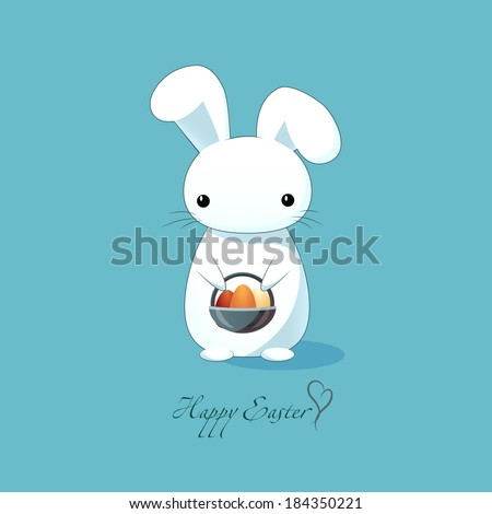 Easter bunny holding a basket of eggs. Sleek design. White rabbit on a blue background. Happy Easter! - stock vector