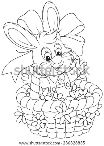 Easter Bunny in a basket with flowers - stock vector