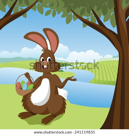 Easter bunny in a meadow  EPS 10 vector stock illustration