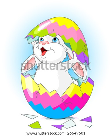 Easter bunny jumping out from broken egg