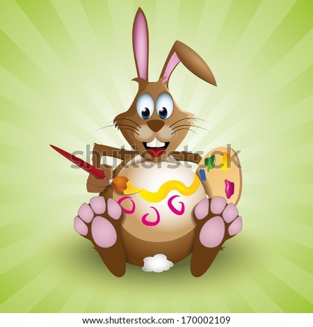 Easter bunny rabbit decorating his egg-like belly - stock vector