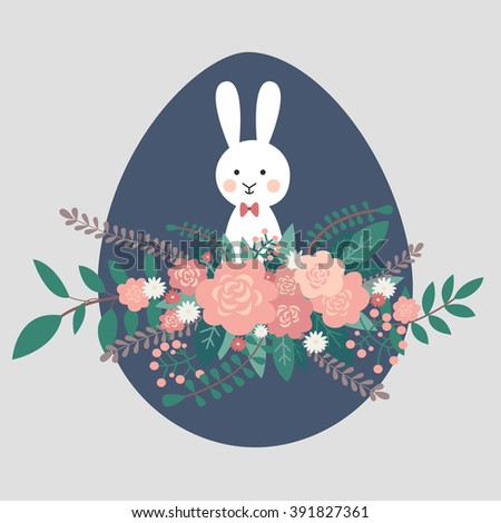 Easter bunny rabbit with flowers and Easter eggs