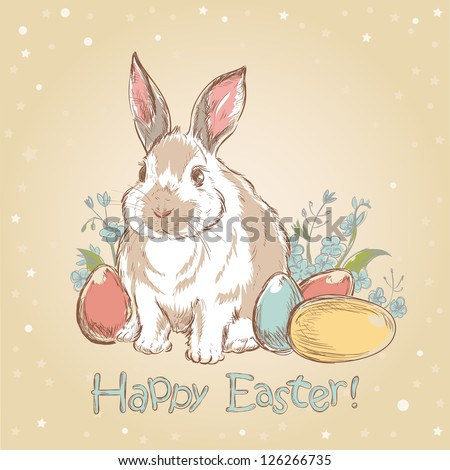Easter bunny retro card with cute hand drawn flowers and  painted eggs - stock vector