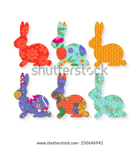 Easter bunny silhouette with floral pattern set - stock vector