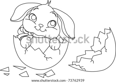 Easter Bunny Sitting In The Broken Egg Coloring Page