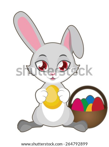 Easter bunny with colorful eggs - stock vector