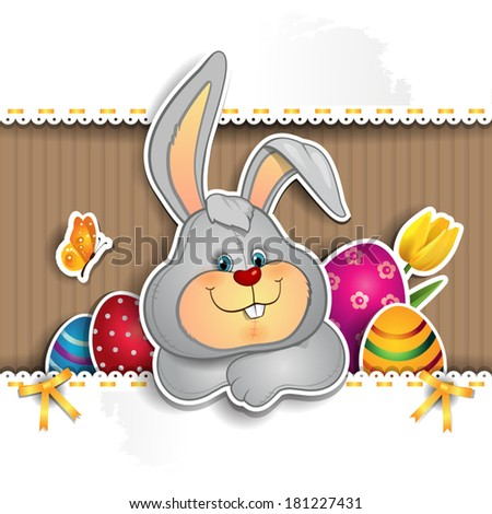 Easter bunny with eggs and white signpost with laces-several levels-transparency-blending effects and gradient mesh-EPS 10 - stock vector