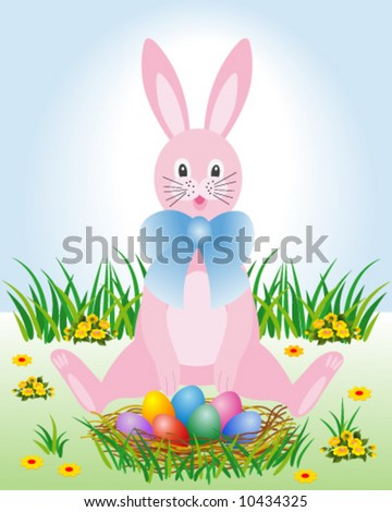 Easter Bunny with eggs in the nest