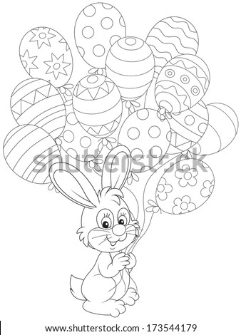 Easter Bunny with holiday balloons  - stock vector
