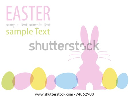 Easter bunny with many eggs - stock vector