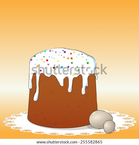 Easter cake and eggs - stock vector