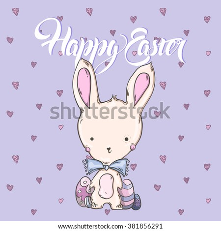 Easter card, cute Bunny with Easter eggs