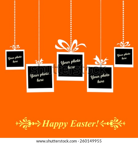 Easter card. Photo frame. Vector Illustration - stock vector