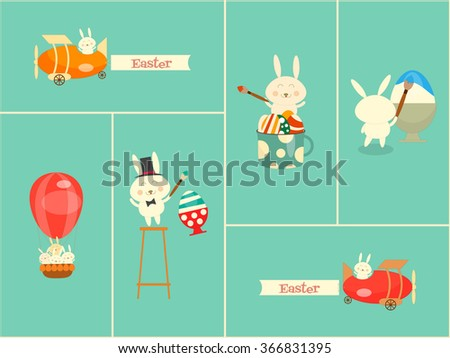 Easter Card. Set of Easter Bunnies. Vector Illustration. - stock vector
