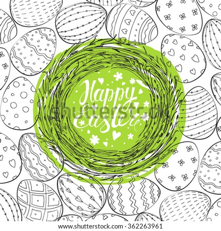Easter Card. Template card with nest and Easter eggs. Happy Easter. Vector background.  Lettering, calligraphy. Handwriting inscription.