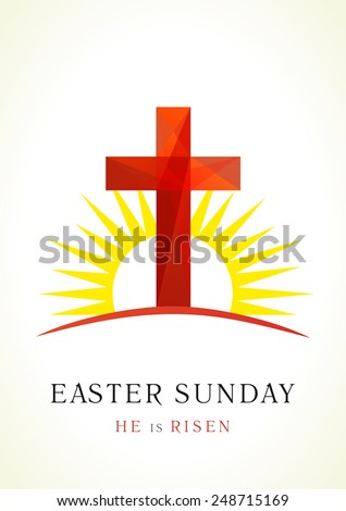 Easter card template in the form of the cross of Calvary against the rising sun. Easter Sunday card - stock vector