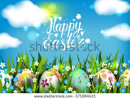 Easter Card. Template with Easter eggs and flowers. Folk paints. Happy Easter. Vector sunny background. Grass, sun and flowers. Lettering, calligraphy. Handwriting inscription. Blue sky and clouds.