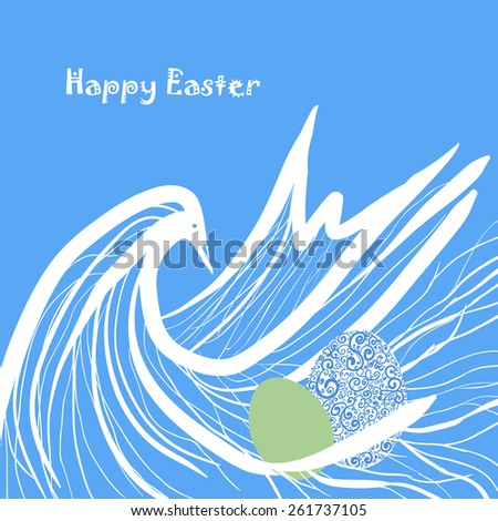 Easter card with bird and eggs. Easter background. Vector illustration.