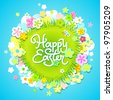 Easter card with calligraphic inscription and flowers around the meadow. Vector illustration. - stock photo
