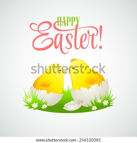 Easter card with chickens and eggs. Vector illustration EPS10 - stock vector
