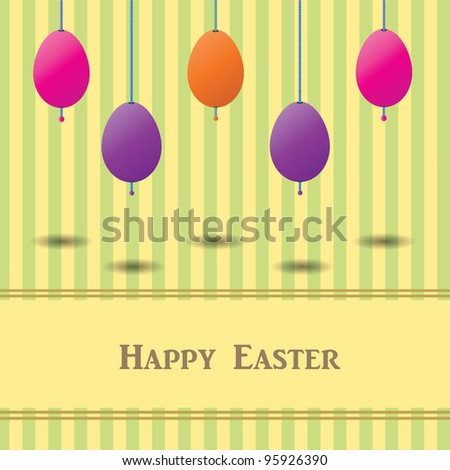 Easter card with colorful eggs and striped background, Vector eps10 - stock vector