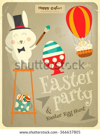 Easter Card with Easter Bunny. Easter Party Invitation. Postcard in Retro Style. Vector Illustration. - stock vector