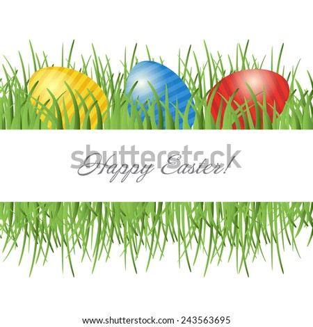Easter card with eggs on green grass and place for your text - stock vector