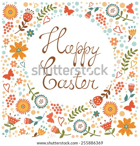 Easter card with floral background. Colorful vector illustration - stock vector