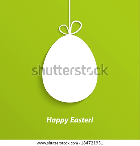 Easter card with hanging egg. Vector illustration. - stock vector