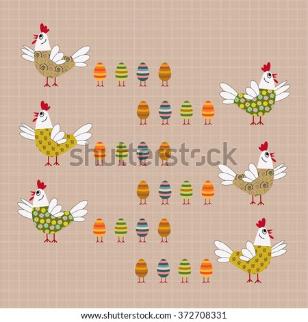 Easter card with hen and eggs - stock vector