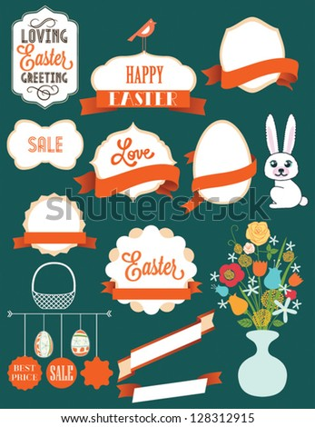Easter card with many graphical Easter elements. Easter eggs, flowers, labels, animals. Loving Easter greeting. - stock vector