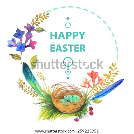 Easter card with wreath of watercolor flowers over white, Vector - stock vector
