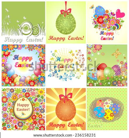 Easter cards - stock vector