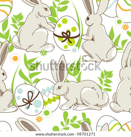 Easter cartoon  seamless pattern, rabbits and painted eggs - stock vector