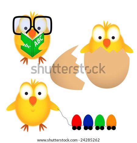 Easter chick - stock vector