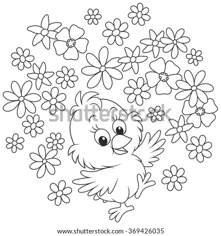 Easter Chick dancing with flowers, a black and white vector illustration - stock vector